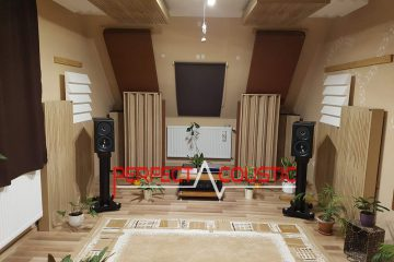 Column acoustic diffusers placed in the cinema room (2)