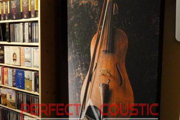 tryckt akustisk panel bredvid skåpet